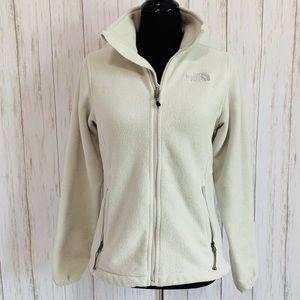 North Face ivory full zip fleece zip pockets - S